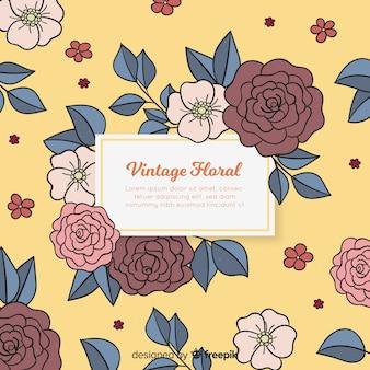 Fundo floral colorido com design vintage