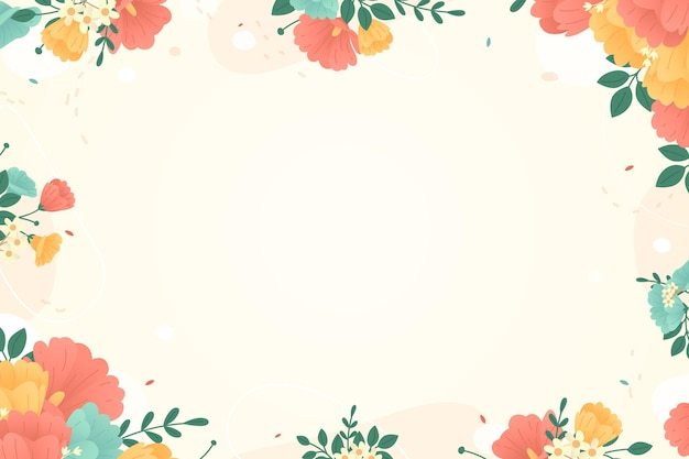 Fundo floral colorido com moldura