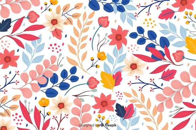 Fundo floral colorido de mão desenhada