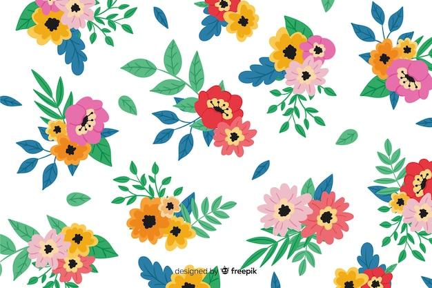 Fundo floral colorido de pintados à mão