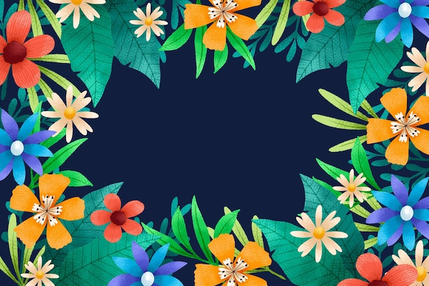 Fundo floral colorido desenhado à mão