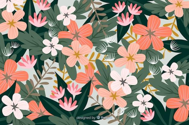 Fundo floral colorido design plano