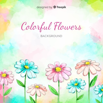 Fundo floral colorido em aquarela