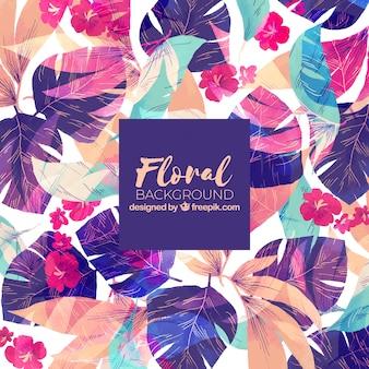 Fundo floral colorido em estilo aquarela