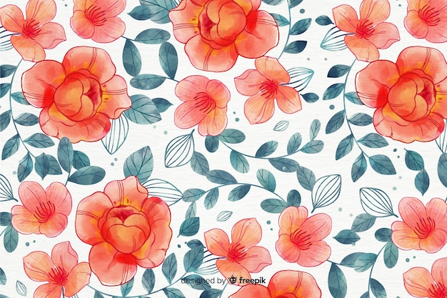 Fundo floral colorido estilo aquarela