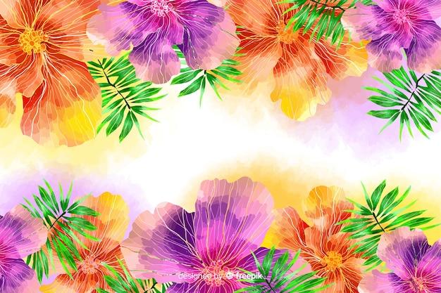Fundo floral colorido exótico aquarela