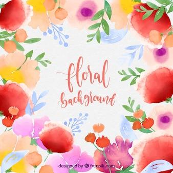 Fundo floral colorido no estilo da aguarela