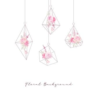 Fundo floral com aquarela rosas em terrário