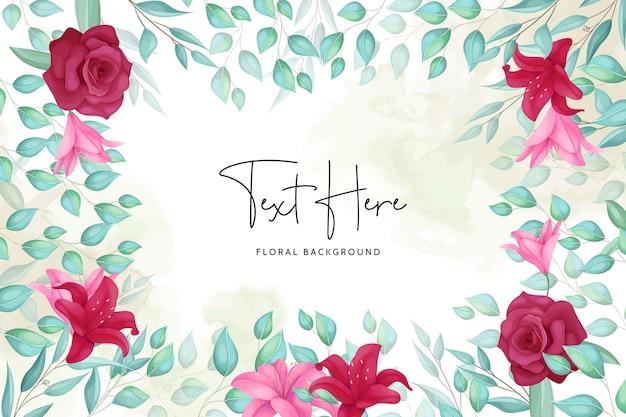 Fundo floral com bela moldura desenhada à mão