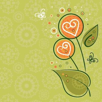 Fundo floral com borboletas