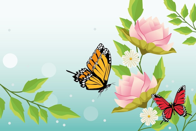 Fundo floral com cena de borboletas e flores.