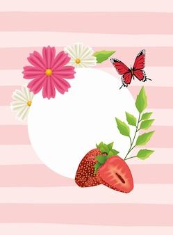 Fundo floral com cena de borboletas e morangos.