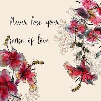 Fundo floral com citações