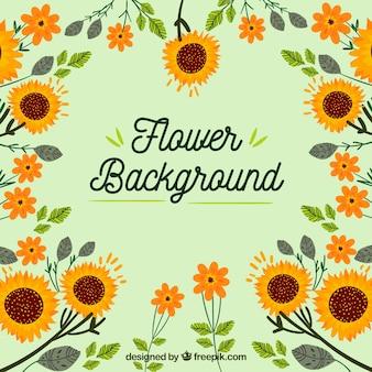 Fundo floral com design plano
