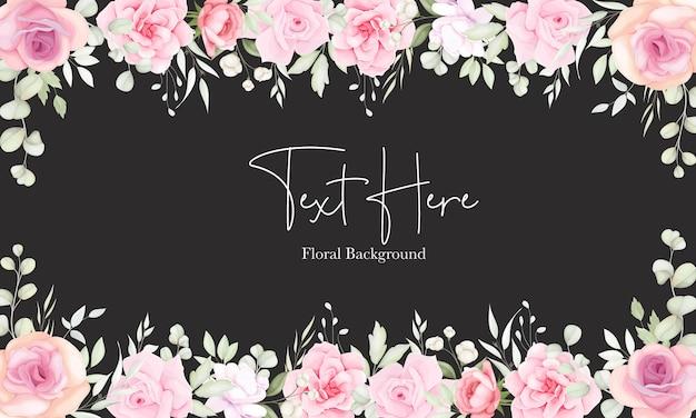 Fundo floral com design suave de flores e folhas