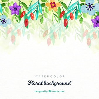 Fundo floral com estilo aquarela