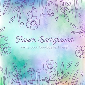 Fundo floral com estilo desenhado de mão