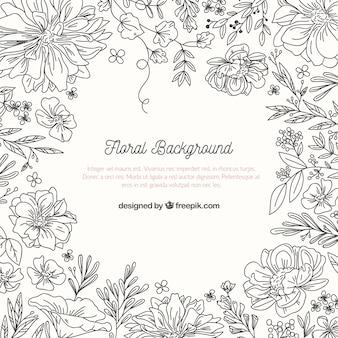 Fundo floral com estilo esboçado