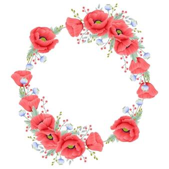 Fundo floral com flor de papoula
