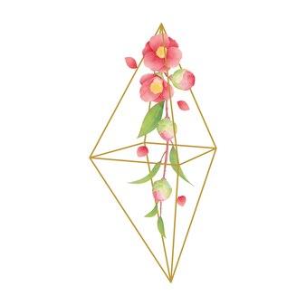 Fundo floral com flores em aquarela camélia no terrário