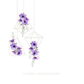 Fundo floral com flores florais anêmona no terrário