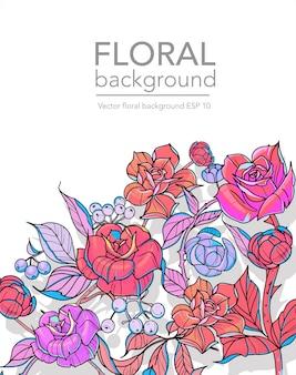 Fundo floral com flores, rosas e ramos, ilustração vetorial.