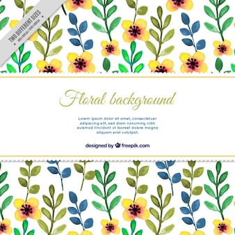 Fundo floral com folhas de aquarela