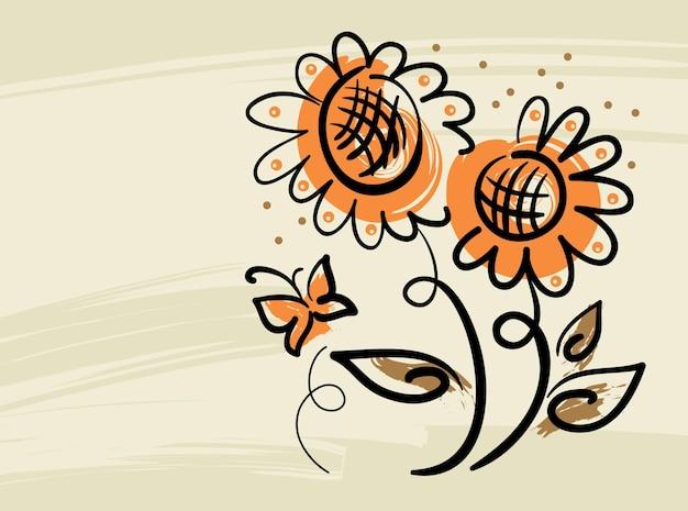 Fundo floral com girassóis e borboleta