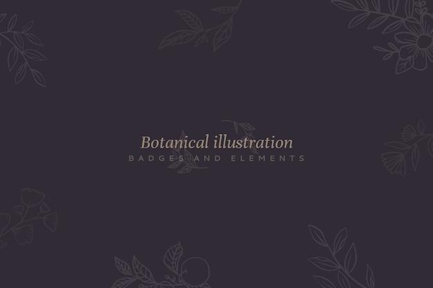 Fundo floral com ilustração botânica
