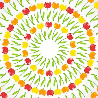 Fundo floral com ilustração vetorial de tulipas