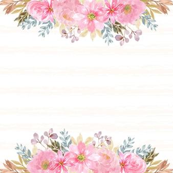 Fundo floral com lindas flores cor de rosa e linha abstrata