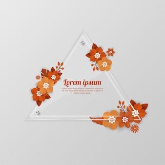 Fundo floral com modelo de moldura de vidro para eventos de compras, férias e saudação, cartões de convite