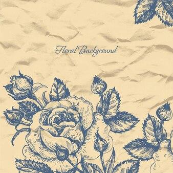 Fundo floral com papel amassado