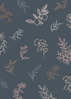 Fundo floral com plantas de doodle