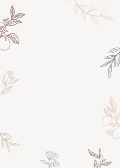 Fundo floral com plantas no estilo de lineart