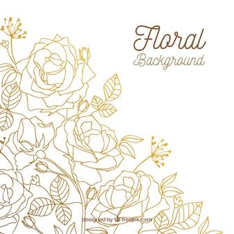 Fundo floral com rosas de mão desenhada