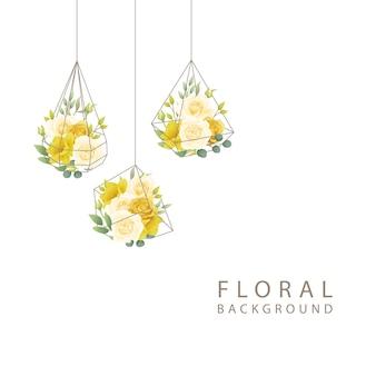 Fundo floral com rosas e narcisos