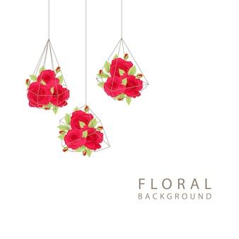 Fundo floral com rosas vermelhas no terrário