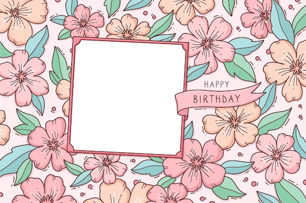 Fundo floral com saudação de feliz aniversário Vetor grátis