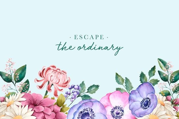 Fundo floral com texto inspirador