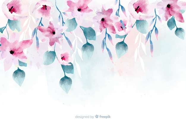 Fundo floral da aguarela com cores suaves