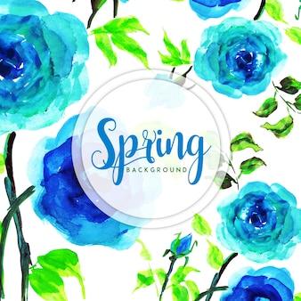 Fundo floral da primavera da aguarela