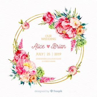 Fundo floral de casamento mão desenhada