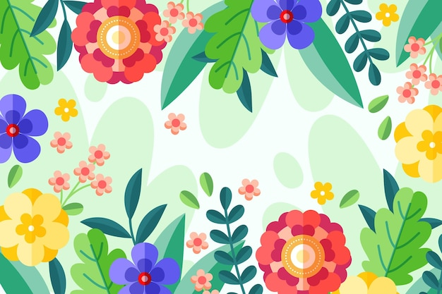 Fundo floral de design plano