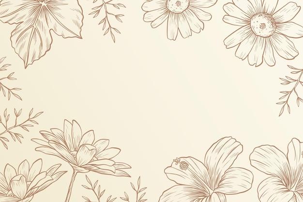 Fundo floral de linhas vintage