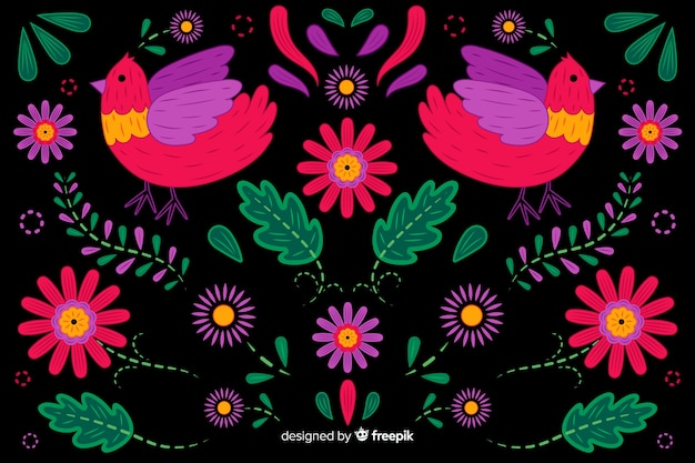 Fundo floral de mão desenhada bordado