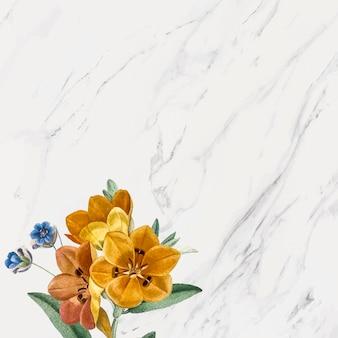 Fundo floral de mármore cinza