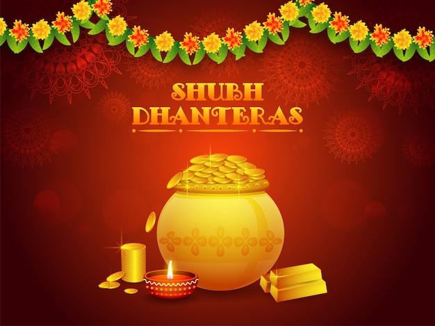 Fundo floral de shubh dhanteras com o pote dourado da moeda.