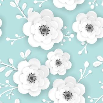 Fundo floral de tempo de primavera com flores em papel cortada em 3d. seamless pattern com origami paper cut flower design para tecido, papel de parede de impressão. ilustração vetorial