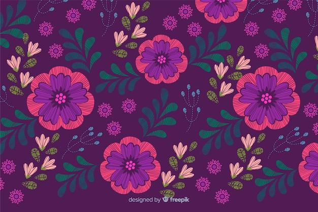 Fundo floral decorativo bordado colorido